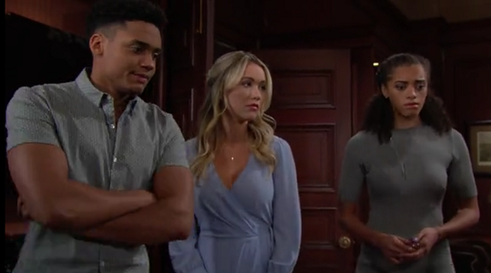 Xander, Flo and Zoe on The Bold and The Beautiful June 26, 2019