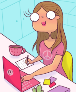 Cartoon of girl writing blog