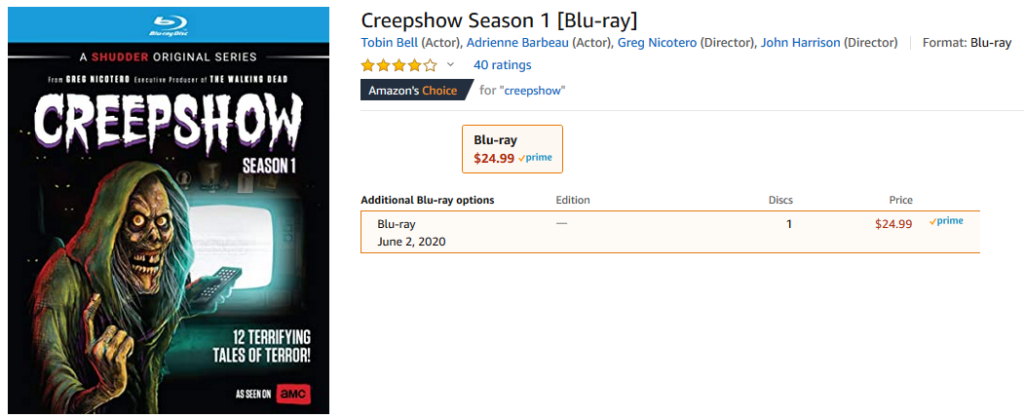 Creep Show on Blu-ray cover