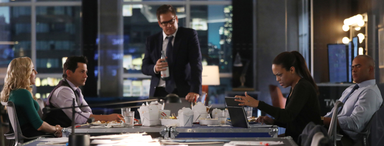 """Bull cast from season 4 - """"The Ground Beneath Their Feet""""--Bull returns to work after his heart attack with a new client for the firm to represent in civil court, an insurance company being sued by a dying mother for denying her a liver transplant, on the third season premiere of BULL, Monday, Sept. 24 (10:00-11:00 PM, ET/PT) on the CBS Television Network. .Pictured L-R: Geneva Carr as Marissa Morgan, Freddy Rodriguez as Benny Col--n, Michael Weatherly as Dr. Jason Bull, Jaime Lee Kirchner as Danny James, and Chris Jackson as Chunk Palmer Photo: Craig Blankenhorn/CBS ©2018 CBS Broadcasting, Inc. All Rights Reserved"""