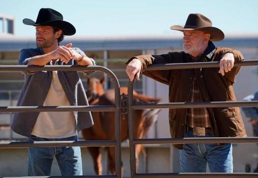"Jared Padalecki and Mitch Pileggi in ""Walker"" on The CW"