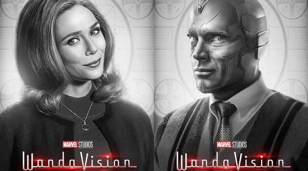 "Elizabeth Olsen (Wanda) and Paul Bettany (Vision) in ""WandaVision"" on Disney+"