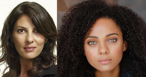 """Gina Bellman and Aleyse Shannon of """"Leverage: Redemption"""" on IMDb TV."""