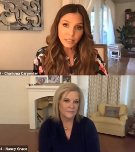 """Charisma Carpenter, star of """"The Good Father,"""" and Nancy Grace, Executive Producer."""